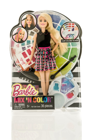 barbie: Winneconne, WI - 13 November 2016: Package that contains Barbie Mix N Color on an isolated background.