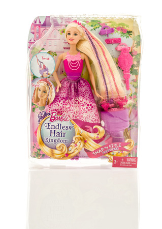 Winneconne, WI - 13 November 2016: Package that contains Barbie Endless Hair Kingdom princess on an isolated background.
