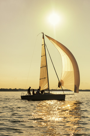 spinnaker: A sailboat extends its spinnaker in a silhouette