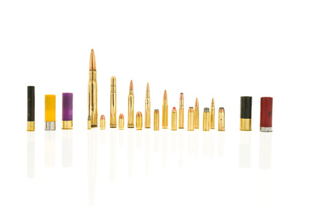 45 ammo: Containing rifle rounds including 50 cal and 5.56, handgun rounds 44 mag and 22 and shotgun rounds 410 and 20 gauge. Stock Photo