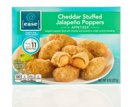 poppers: Winneconne, WI - 1 December 2016:  Package of  @ease cheddar stuffed jalapeno poppers on an isolated background.