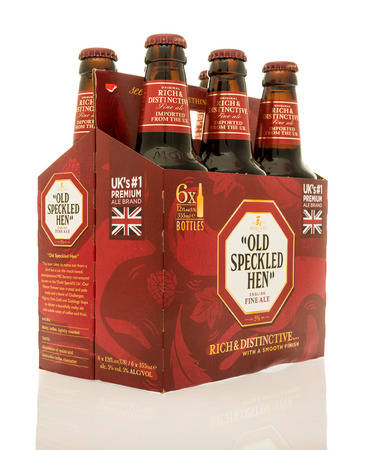 Winneconne, WI - 9 December 2016:  Six pack of Old Speckled Hen ale on an isolated background.