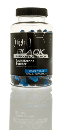 Winneconne, WI - 22 December 2016: Container of Hight Black testosterone booster on an isolated background. Editorial