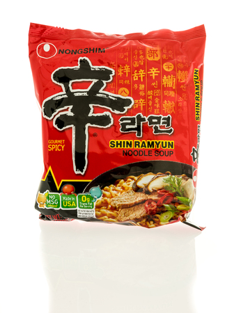 shin: Winneconne, WI - 22 December 2016:  Package or Nongshim shin ramyun noodle soup on an isolated background.
