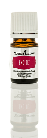 excite: Winneconne, WI - 1 January 2017:  Bottle of Young Living excite essential oil on an isolated background.