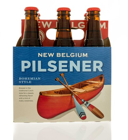 6 pack beer: Winneconne, WI - 7 January 2017:  Six pack of New Belgium pilsener beer on an isolated background. Editorial
