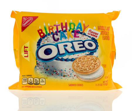 Winneconne, WI - 7 January 2017:  Package of Golden Oreo birthday cake flavor cookies on an isolated background.