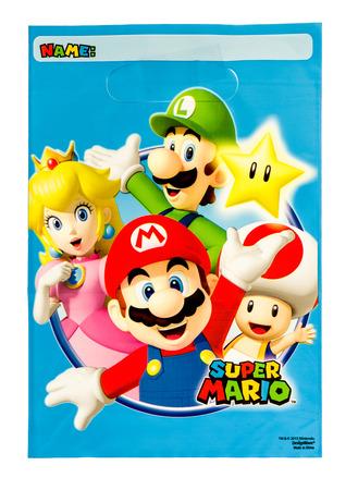 Winneconne, WI -29 de enero de 2017 Super Mario botín bolsa sobre un fondo aislado. Editorial