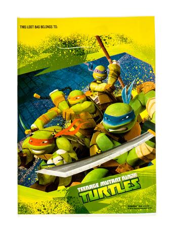 Winneconne, WI -29 January 2017: Teenage Mutant Ninja Turtles loot bag on an isolated background.