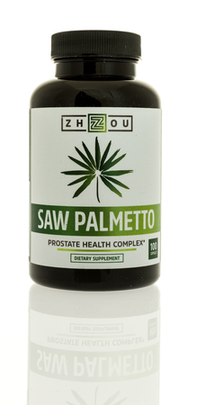 Winneconne, WI - 12 February 2017: Bottle of Zhzou saw palmetto on an isolated background.