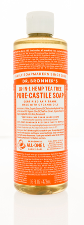Winneconne, WI - 2 November 2016:  Bottle of Dr. Bronners 18-1 hemp tea tree pure castile soap on an isolated background.