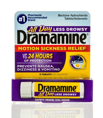 Winneconne, WI - 22 February 2017:  Package of Dramamine motion sickness relief on an isolated background.