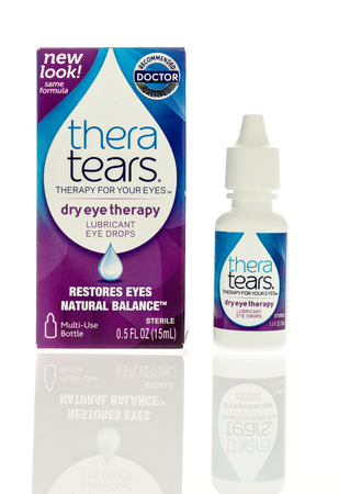 Winneconne, WI - 5 March 2017:  Thera tears eye drops on an isolated background.