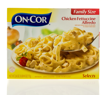 cor: Winneconne, WI - 5 March 2017:  Box of On Cor chicken fettuccine alfredo on an isolated background.