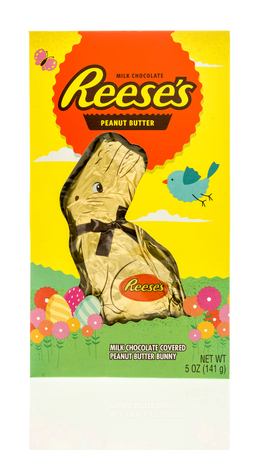 reese's: Winneconne, WI - 26 March 2017:  Package of chocolate peanut butter bunny made by Reeses on an isolated background.