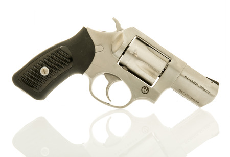 Winneconne, WI - 2 April 2017:  A Ruger SP101 revolver in .357 magnum caliber on an  isolated background. Editorial