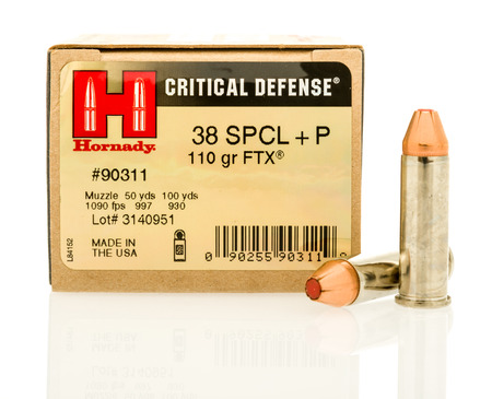 Winneconne, WI - 5 April 2017:  A box of Hornady critical defense 38 special hollow point bullets on an isolated background.