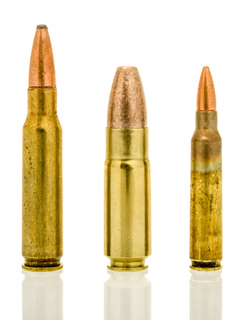 Shot of three standard military rounds for the AR-15 platform.  7.62mm, 458 SOCOM and the 5.56mm