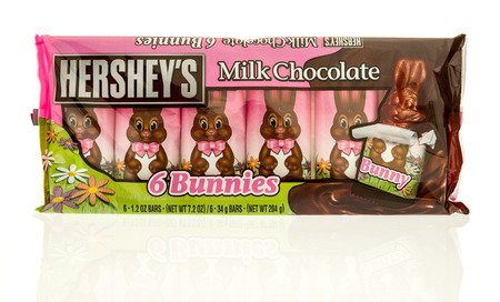 hershey's: Winneconne, WI - 20 April 2017: Package of milk chocolate bunnies made by Hersheys on an isolated background. Editorial