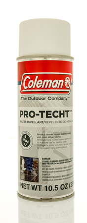 repellant: Winneconne, WI - 20 April 2017: Can of Pro-Techt water repellant made by Coleman on an isolated background.