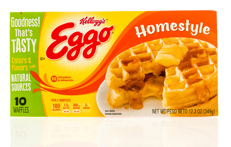 homestyle: Winneconne, WI - 22 April 2017: Box of Eggo waffles in homestyle flavor on an isolated background.