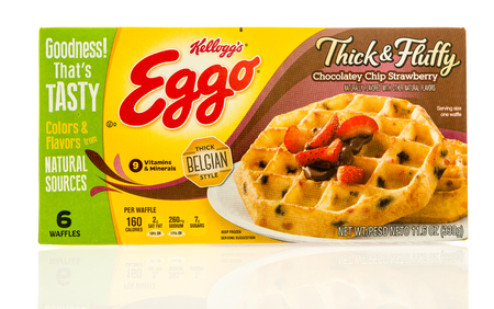 Winneconne, WI - 22 April 2017: Box of Eggo waffles in Belgian Thick & Fluffy chocolate chip strawberry  flavor on an isolated background.