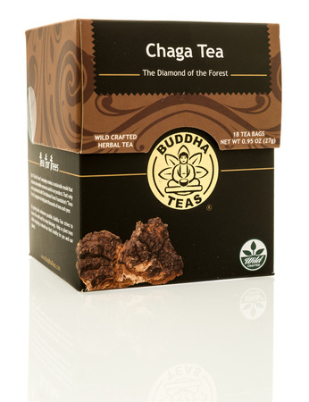 Winneconne, WI - 7 May 2017: A box of Chaga tea by Buddha Teas on an isolated background. 報道画像