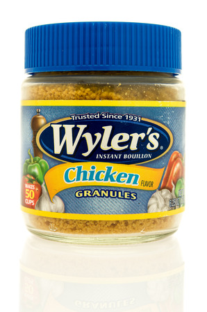 Winneconne, WI - 13 May 2017: A can of Wylers bouillon in chicken flavor on an isolated background.