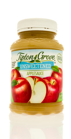 Winneconne, WI - 13 May 2017: A jar of Tipton Grove applesauce on an isolated background.