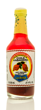 Winneconne, WI - 16 May 2017: A bottle of La Anita chili havanero hot pepper sauce on an isolated background. Editorial
