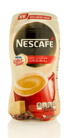 Winneconne, WI - 16 May 2017: A package of Nescafe sweet and creamy creamer on an isolated background.
