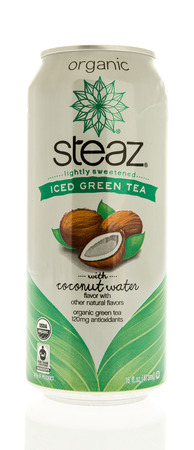 illustrative editorial: Winneconne, WI -13 June 2017: A can of Steaz  organic iced green tea with coconut water on an isolated background Editorial
