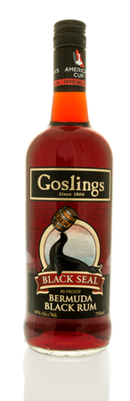 Winneconne, WI -17 June 2017: A Bottle of Goslings black seal rum on an isolated background Editorial