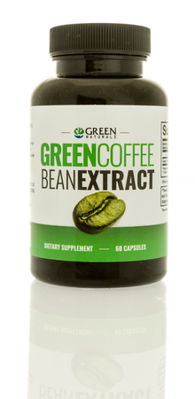 Winneconne, WI -22 June 2017: A bottle of Green Naturals green coffee bean extract tablets on an isolated background