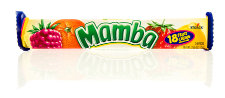 Winneconne, WI -22 June 2017: A package of Mamba fruit chews candy on an isolated background Editorial