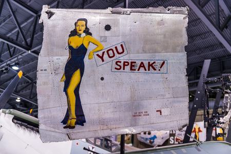 Oshkosh, WI - 3 March 2017: A piece of nose art from WWII aircraft featuring You Speak