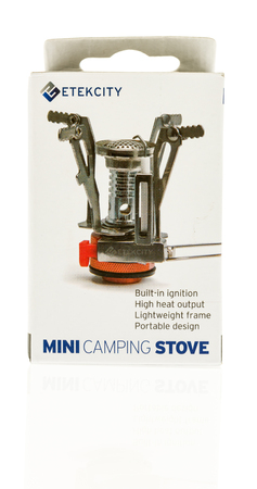 Winneconne, WI - 12 July 2017: A Etekcity mini camping stove on an isolated background.