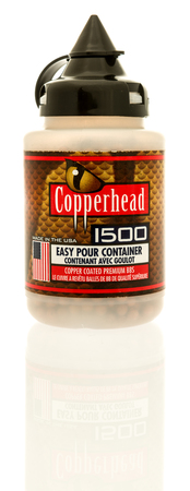 Winneconne, WI - 16 July 2017: A package of copperhead bbs on an isolated background.