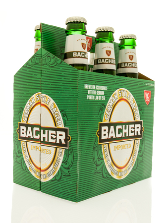 Winneconne, WI - 18 July 2017: A six pack of Bacher beer on an isolated background.