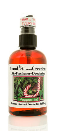 Winneconne, WI -1 August 2017:  A bottle of Stand Around Creations air freshener on an isolated background. Stok Fotoğraf - 83452184