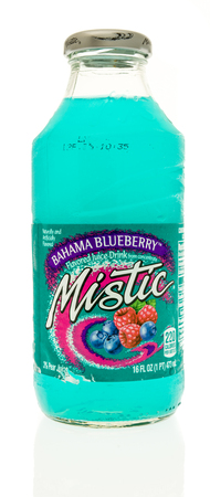 mistic: Winneconne, WI - 2 September 2017: A bottle of Mistic juice in bahama blueberry flavor on an isolated background. Editorial