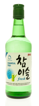 Winneconne, WI - 2 September 2017: A bottle of Jinro Chamisul Soju on an isolated background.