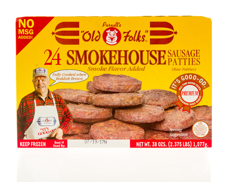 Winneconne, WI - 7 September 2017: A box of Purnells old folks smokehouse sausage patties on an isolated background. Editorial