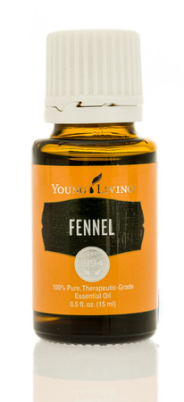 Winneconne, WI - 17 August 2017:  A bottle of Young Living Fennel oil on an isolated background. Editorial