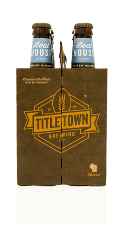 6 pack beer: Winneconne, WI - 28 September 2017: A six pack of Titletown brewing company beer on an isolated background.