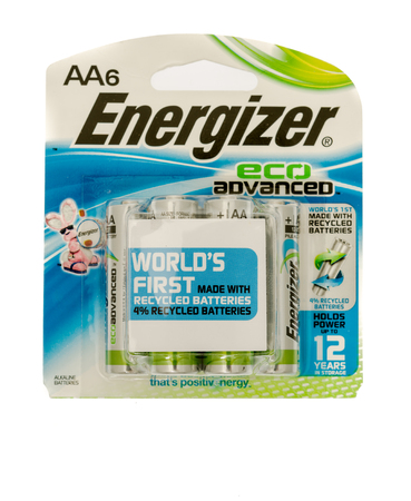 Winneconne, WI - 28 September 2017: A package of Energizer eco advanced batteries on an isolated background.