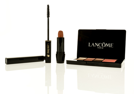 Winneconne, WI - 28 October 2017:  A collection of Lancome makeup on an isolated background.