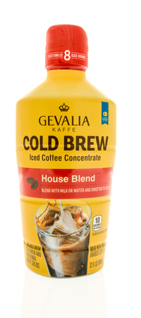 Winneconne, WI - 31 October 2017:  A bottle of Gevalia kaffe cold brew iced coffee concentrate  on an isolated background. Editorial