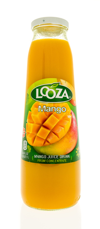 Winneconne, WI - 31 October 2017:  A bottle of Looza mango juice drink on an isolated background.