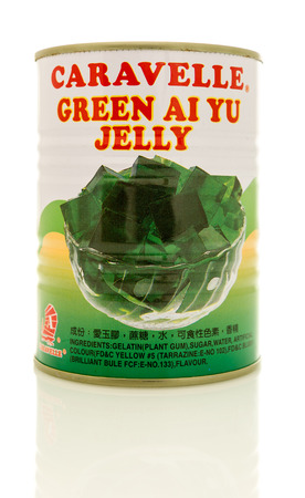 Winneconne, WI - 28 October 2017:  A can of Caravelle green ai yu jelly on an isolated background. Editorial